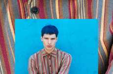Eccentric Indigo-Haired Portraits