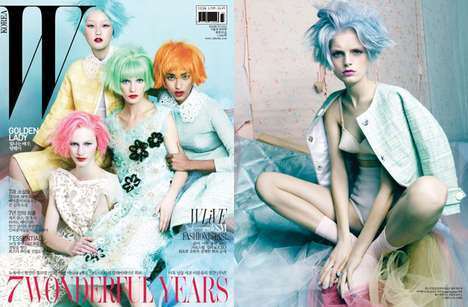 Pastel-Haired Editorials - The W Korea Shoot is Colorful