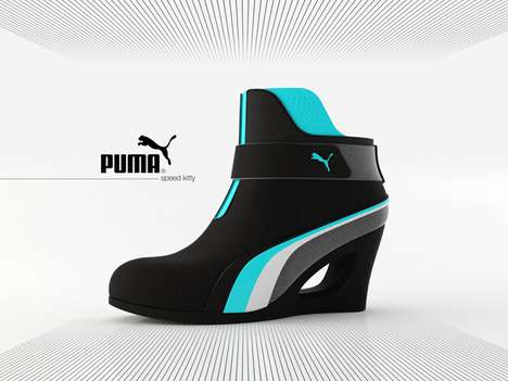 Sci-Fi Platform Concepts - The Puma 'Speed Kitty' Heels Concept Brings Electric Color to Sport Heels