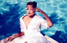 Lustrous Seaside Photoshoots - Eniko Mihalik Stars in a White Editorial for Allure Magazine May 2012