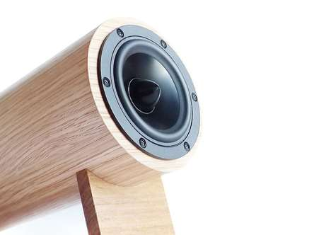 Cylindrical Bamboo Speakers - The Yorkie Speakers are Eco-Friendly Sound Amplifiers