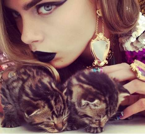 Instagram-Inspired Editorials - Cara Delevingne by Nick Knight Playfully Poses with Baby Pets