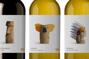 The Delhaize Wine Labels Are Adorned with Clever Stopper Manipulations