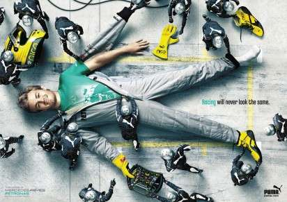 Giant Nascar Driver Ads - The PUMA Mercedes AMG Petronas Campaign Makes Formula One Fashionable