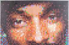 Plastic Perler Celebrity Portraits - Steve Moore Makes Collages Beads into Hollywood Faces