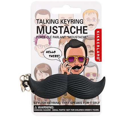 talking mustache key ring