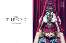 Silver-Haired Queen Photoshoots - The Ground Magazine 'The Throne' Editorial Stars Tabea Koebach