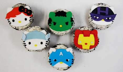 hello kitty x avengers cupcakes