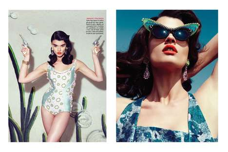 Glam Gun-Slinging Editorials - Vogue Latin America 'Salvaje Corazon' Stars a 50s-Chic Crystal Renn