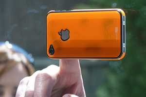 The Resin iPhone 4/4S Guard Secures to Mac Screens