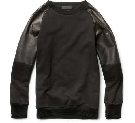 Alexander McQueen Leather-Sleeved Sweatshirt