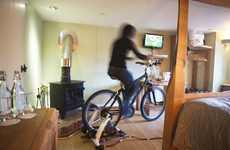 Human-Powered Hotel Ammenities - The Bike-Fueled Cottage Lodge TV Operates on Foot Peddling