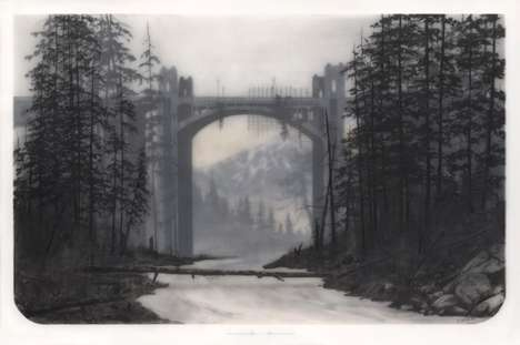 Muted Layered Landscapes - Brooks Shane Salzwedel Creates Art Using Tape, Resin and Graphite