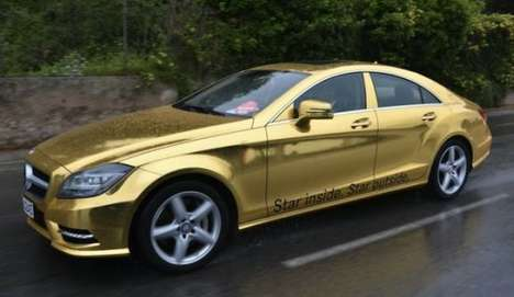 mercedes gold wrapped cars