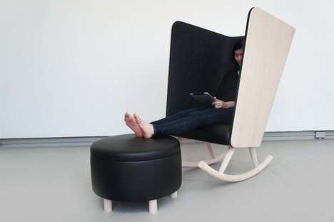 Concave Cocoon Chairs - The Private Rocker by Kyle Fleet is a Bookworms Hideaway