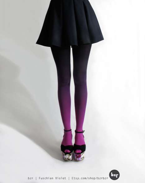 Gradual Gradient Stockings - These Ombre Tights from BZR Shop on Etsy are Trippy