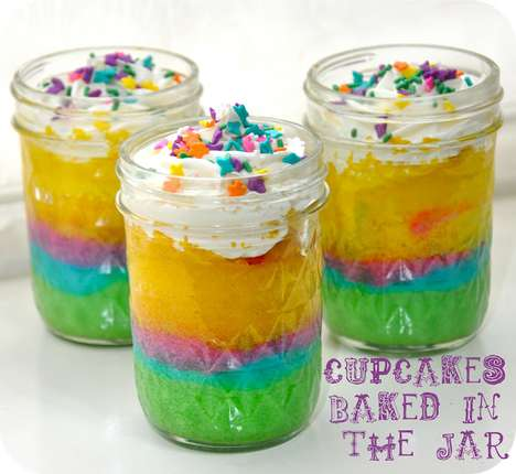 DIY Retro Cupcake Jars - The 'Running With Glitter' Blog Shows You How to Make Rainbow Cakes