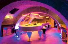 The Evolution Bar in Bucharest, Romania Features Floating Tables