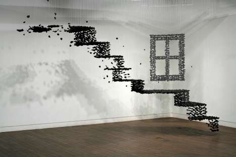 Suspended Charcoal Installations - Seon Ghi Bahk's Sculptures Look like They are Disintegrating