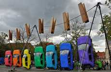 Clothespinned Car Installations