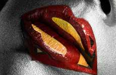 Superhero Symbol Makeup - The Jonathan Knowles and Celine Nonon Lipstick Art is Beautiful