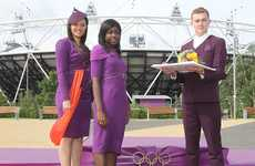 Purple-Pigmented Podium Wear - The London 2012 Medal Presenting Apparel is Futuristic