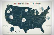 U.S. Ale House Charts - The 'Breweries of the United States Map' Pins Down Lager Locations