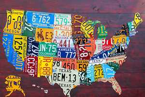 The Design Turnpike USA 'License Plate Maps' are Bold like the Nation