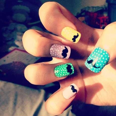 stick on moustache nails