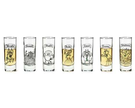 Immoral Alcohol Shooters - The 7 Deadly Sins Shot Glasses by Mort Gerberg are Tempting
