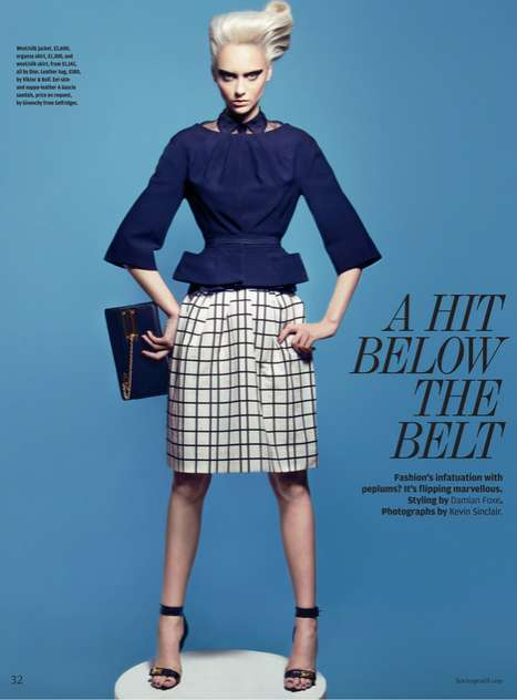 Edgy Peplum Editorials - The How to Spend It 'A Hit Below the Belt' Photoshoot Stars Nastya Kusakina