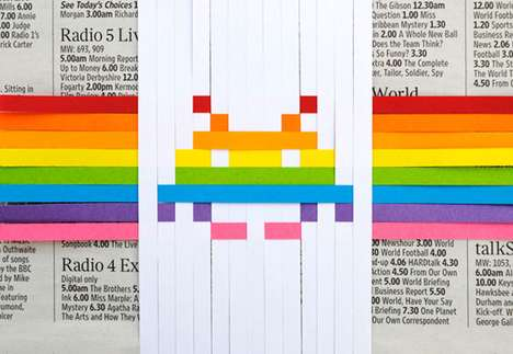 diy space invaders pixelated paper