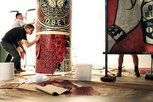 The Shepard Fairey and Andre Saraiva Levi's Painting is Consumer-Themed