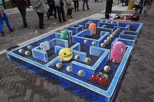 Leon Keer Adorns a Sidewalk with a 3D Pac-Man Piece