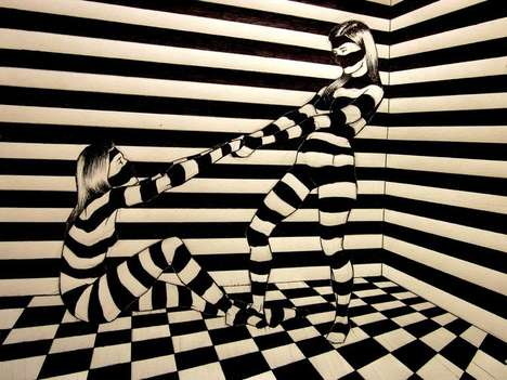Hypnotically Striped Renderings - Shirly Raz Illustrates Images that Toy with Viewers