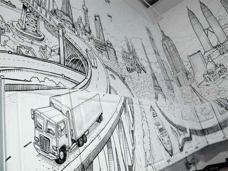 Creative City Canvases - Artist Deck Two Draws Clustered World Landscapes on Walls and Cabinets