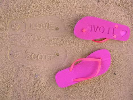 custom sand imprint flip flops