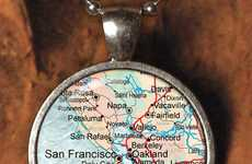 Locale-Loving Charms - The Vintage Map Necklace is a Great Hometown Reminder