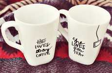 DIY Customized Mugs - The 'A Beautiful Mess' Blog Shows How to Design With Sharpie Marke