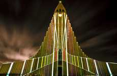 Shimmering Sacred Sanctuaries - The Iceland Hallgrímskirkja Church Flickers as a Beacon