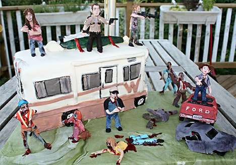 Delicious Undead Pastry Delights - The Walking Dead Birthday Cake is Full of Savory Zombie Gore