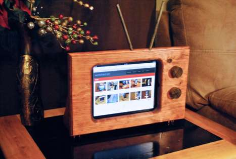 notchedart wooden ipad stand