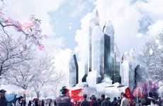 Crystallized Iceberg Superstructures - The Harbin Ice Hotel by LAVA is Beautiful and Enormous