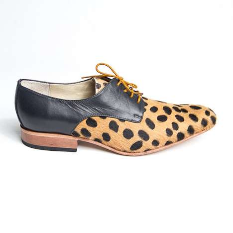 faux leopard skin derby shoes by goodbyefolk