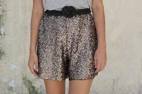 a pair a spare diy sequin shorts