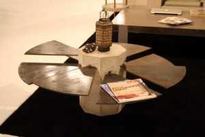 The James De Wulf Steel Fan Table is Industrial-Chic