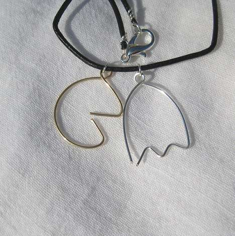 pacman and ghost necklace