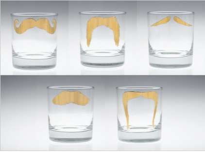gold moustache glasses