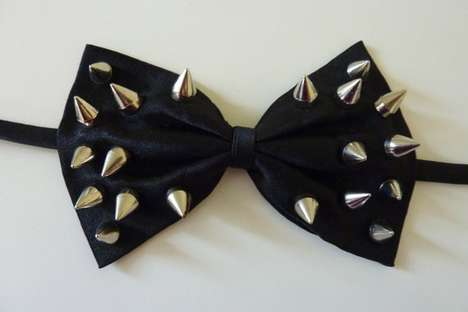Spike-Studded Bow Tie by NiceReworked Vintage
