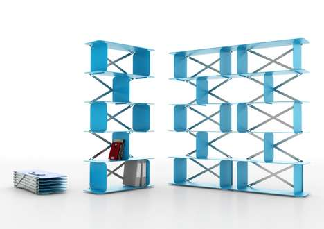 Accordion-Style Storage - The Zigzag Shelf Opens from Flat for a Convenient Collapsible Furnishing